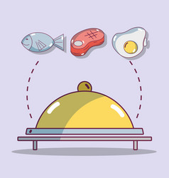 Catering with fish and meat and egg protein food vector