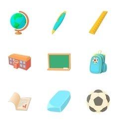 Children education icons set cartoon style vector image