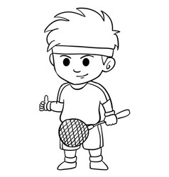 children playing badminton character style vector image