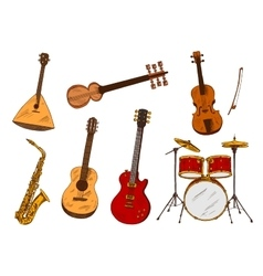 Classic and ethnic musical instruments vector