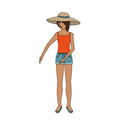 Color image cartoon full body woman with beach hat vector