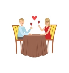 Couple In Love On The Date With Restaurant vector image