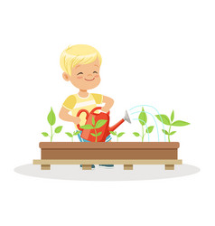 cute happy boy watering plants from a watering can vector image vector image