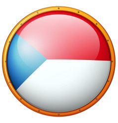 Czech republic flag on round frame vector