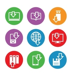 Devices downloading icons in color circles vector