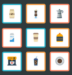 Flat icons mocha paper box moka pot and other vector