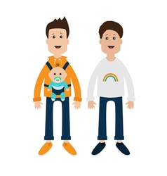 Gay family Two fathers with baby boy son in baby vector image