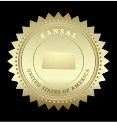 Gold star label Kansas vector image