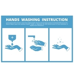 Hands washing medical instruction vector image vector image
