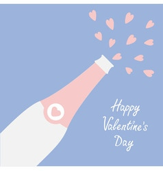 Happy Valentines Day Love card Champagne bottle vector image
