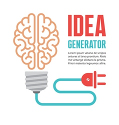 Human brain in light bulb vector