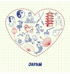 Japan symbols pen drawn doodles collection vector