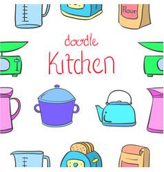 Kitchen set doodles vector