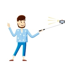 Man making selfie with a stick icon cartoon style vector image