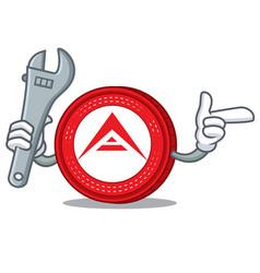 Mechanic ark coin mascot cartoon vector