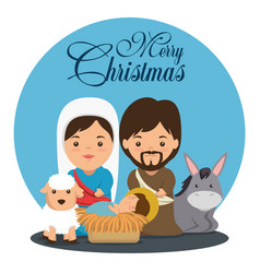 Merry christmas nativity scene with holy family vector