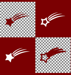 Meteor shower sign bordo and white icons vector