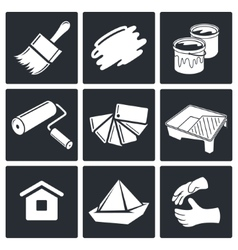 Painting work icon set vector image vector image