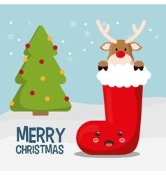 Reindeer cartoon of chistmas design vector