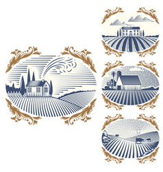 retro landscapes farm house vector image vector image