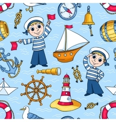 Sailors seamless pattern vector image