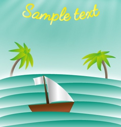 Sea with palms and boat card template vector