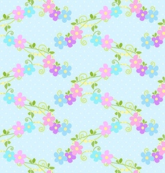 Seamless floral pattern with little pink and blue vector image