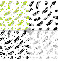 seamless set of floral pattern hand drawn vector image vector image