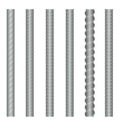 Seamless steel rebars reinforcements set vector