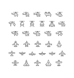 Set line icons of helicopters and planes vector