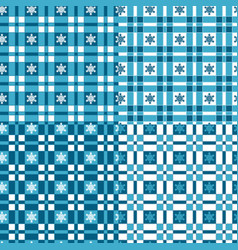 set of winter patterns with tartan and snowflakes vector image vector image