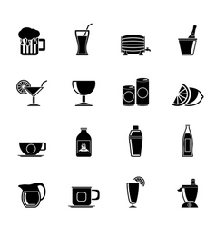 Silhouette beverages and drink icons vector image