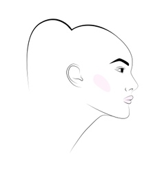 sketch of girls head with earring in his ear vector image