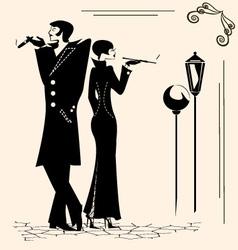 Smoking man and woman vector