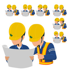 two engineers read drawing vector image vector image