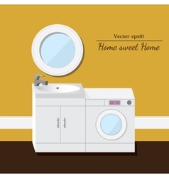 Washing and sink 3d interior yellow background vector