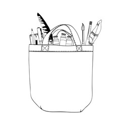 Bag and brushes vector