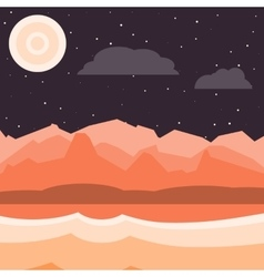 Brown and orange night landscape vector image