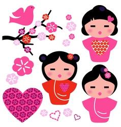 Japan love geisha and floral elements set vector
