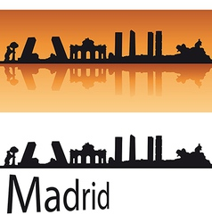 Madrid skyline in orange background vector