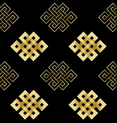 Seamless pattern of gold endless knot vector