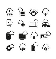 Internet cloud computing icon set vector