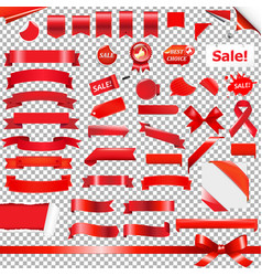 Big red ribbon set vector