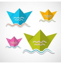 Paper boat origami set vector