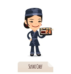 Sushi chef with tray vector