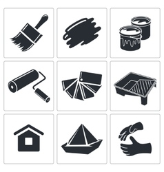 Painting work icon collection vector