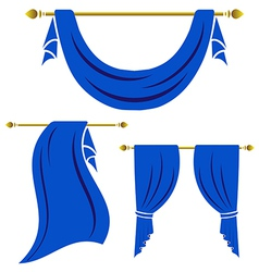 Blue curtain vintage set on white background vector