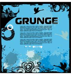 Grunge background with birds vector