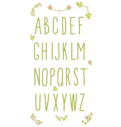 Hand drawn sketch alphabet handwritten font vector