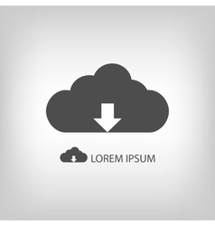 Grey cloud with downloading sign as logo vector